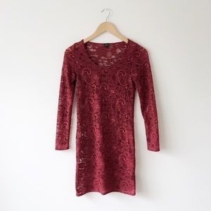 Talula Red Fitted Lace Mini Dress Long Sleeve